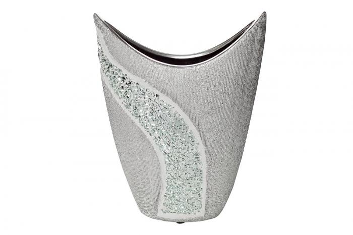 Ваза керамическая серебристая 18H6938S-1